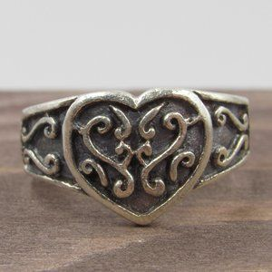 Size 6.5 Sterling Rustic Scrolled Heart Band Ring